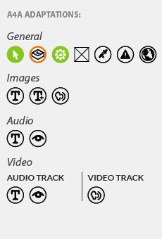 The Open Author accessibility metadata sidebar, showing icons indicating the accessibility features and alternatives in the content